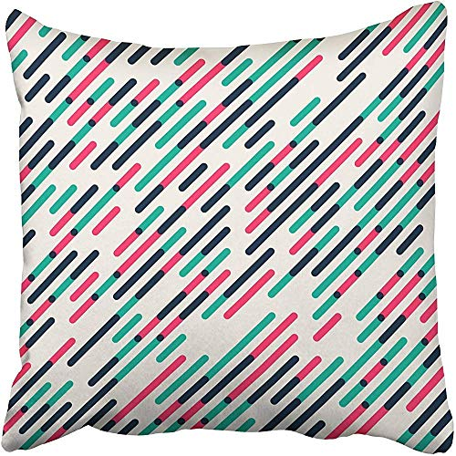 gthytjhv Wurfkissenbezugs 18 x 18 Inches White Geometric Parallel Diagonal Red Green Overlapping Color Lines Pattern Colorful Pillow Case Decorative Cushion Cover Two Sides Print Pillowcase -