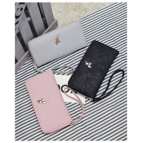 Ya Jin Long Large Portafoglio Borse per donna Clutch Handbags con cinturino da polso Nero