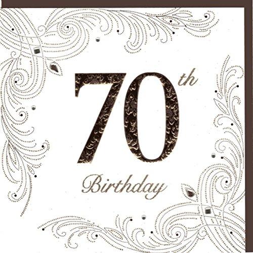 Edle Glückwunschkarte zum 70. Geburtstag von Koko Designs mit Prägung, Folie und Kristallen KK016