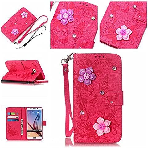 Custodia LG K7 Smartphone,Cozy Hut Per LG K7 Red Rose Custodia , Il diamante scintillante Retro Fiore Modello Design Con Cinturino da Polso Magnetico Snap-on Book style Internamente Silicone TPU Custodie Case in pelle Protettiva Flip Cover Per LG K7 - Red