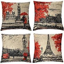 Kate 4 paquetes manta fundas de almohada de 18 x 18 pulgadas Negro y Rojo de color de la torre Eiffel y Big Ben Funda de almohada decorativo funda de cojín suave para, casa, dormitorio, interior o out door Funda de almohada (Set de 4)