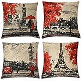 Kate 4 paquetes manta fundas de almohada de 18 x 18 pulgadas Negro y Rojo de color de la tor...