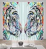 HONGYZCL Gemalter Digitaler Vorhang des Tigers 3D, Der Für Hauptschlafzimmerwohnzimmer Passend Ist,300Cm(W)×270Cm(H)