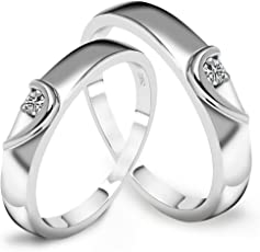 Peora Silver Plated AAA Swiss Zirconia Love Birds Crystal Couple Rings for Men and Women