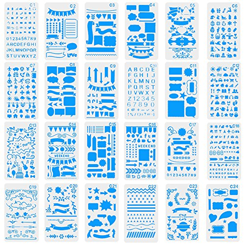 Ccmart 24 Journal Diary Plastic Letter Stencils - Templates For Journaling, Notebook, Diary, Card & Craft DIY Projects Drawing Painting Template Stencil Set with Storage Bag (Kleines Notebook Journal)
