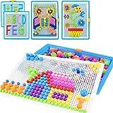 Creative Mosaique Puzzle 296pcs Bloc de Construction Magnétique Jeu de Construction Colorée Jouet Educatif DIY Assortiment de Couleur Cadeau de Noël Anniversaire pour Enfant Garçon Fille Age 3-8 Ans