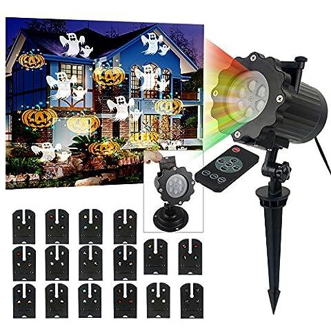 éclairage LED effet avec 16 dessins, dynamique / statique, 3 vitesses de marches, intérieur / extérieur IP65, 6 heures minuterie, Lumiere De Noël Projecteur, LED Lampe De Projection, Projection de LED RGBW lampe d