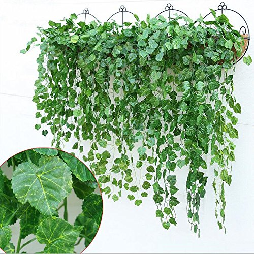 YSBER 12pcs 83 Feet Artificial Ivy & Silk Fake Ivy Leaves Hanging Vine Leaves Garland for Wedding Party Garden Wall Decoration (Grape Leaves)