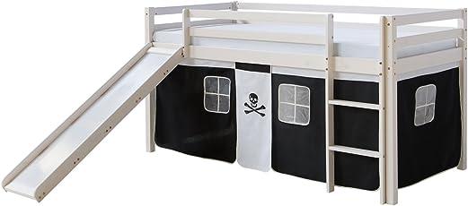 Entzuckend Homestyle4u Pirat Finn I. Hochbett Spielbett Kinderbett Weiss Aus Kiefer  Mit Leiter Und Vorhang In