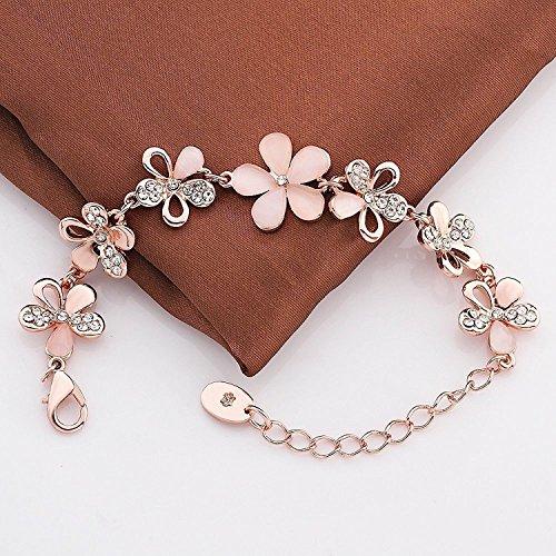 Jewels Galaxy Exclusive 18k Rose Gold Bracelet Earrings Combo Jewellery for Women/Girls
