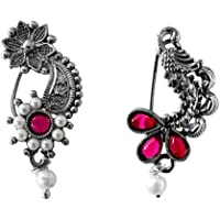 Riank Traditional Oxidised Maharashtrian Nath with Combo of Pearl Floral & Peocock Design Pearl Bead Nose Ring without…