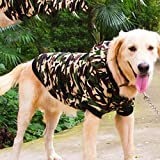 GWELL Hund Fleece Camouflage Hundejacke Fleecejacke Hundemantel mit Ärmel und Kapuze Hundepulli Kapuzenpulli für großen Hund 4XL