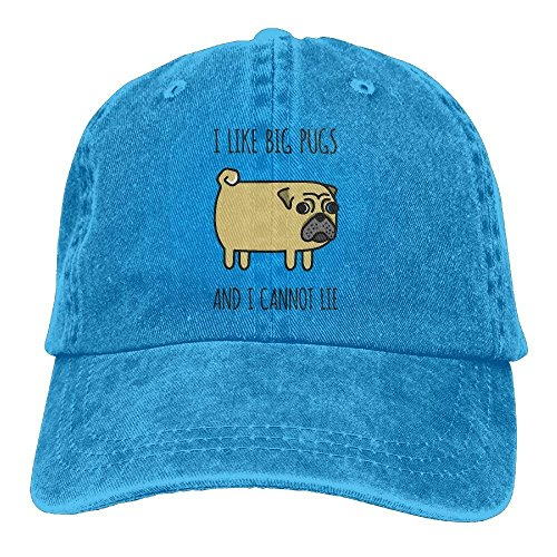I Like Big Pugs I Cannot Lie Unisex Adjustable Baseball Caps Denim Hats Cowboy Sport Outdoor Ashton Denim