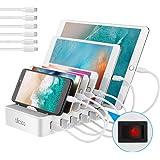 allcaca Stazione di Ricarica con Interruttore Caricatore USB 6 Porte Caricatore USB Supporto di Ricarica per Apple iPhone Sam