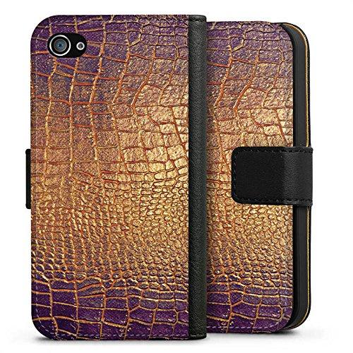 Apple iPhone X Silikon Hülle Case Schutzhülle Schlangenhaut Muster Gold Sideflip Tasche schwarz