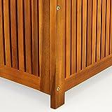 Auflagenbox Holz | Akazie | XXL 117cm | mit Innenplane | vorgeölt | Holztruhe Holz Kissenbox Gartenbox Gartentruhe Truhe - 9