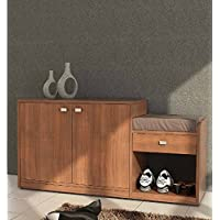 Shilpi Wooden Wardrobe Organizer, Wooden Shoe Rack Included Seating Stool with Cushion