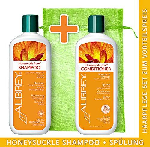 AUBREY Honeysuckle Rose Haarpflege-Set Shampoo + Spülung je 325ml (Rosa Rose Aubrey Mosqueta)