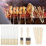 Migavenn Barbecue brochettes Kabob Broches Outils Set 12pcs Twist Needle + 90pcs Brochettes en bambou + 2pcs Brosse pour barbecue en plein air Barbecue Cooking Camping Pique-nique