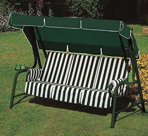 Ideapiu Balancelle de Jardin, Bascule avec garnissage Rayures Vertes, balancelle 4 Places, Bascule