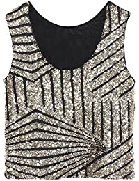 Swallowuk Damen Mode Shine Glitzer Pailletten Weste Ärmellos Short Tank Top  Party Oberteil (Gold) 80ec8f0c90