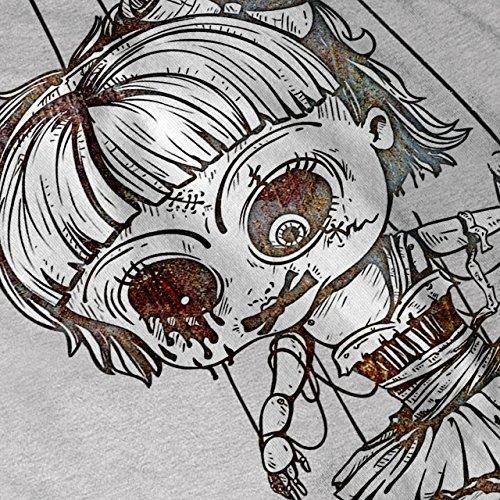 Undead Marionette Gruselig Puppe Damen Schwarz S-2XL Muskelshirt | Wellcoda Grau