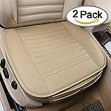JHZH- 2PCS Sitzauflagen Auto Sitzkissen Atmungsaktiv Massage Sitzbezügesets Mit PU-Leder-Bambus-Holzkohle,Allgemeine Modelle (Beige)