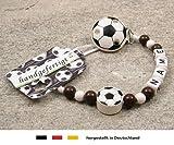 Baby SCHNULLERKETTE mit NAMEN | Motiv Fussball in Vereinsfarben - braun, weiß