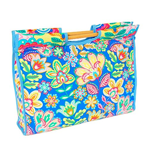 S&W Storage Margarita 'Style Craft Tasche mit Holz Griffe, Zip, blauem Rand   43x 33x 10cm