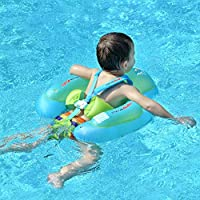 Swimbobo New Upgraded Baby Swimming Float Kids Inflatable Swim Ring with Safety Support Bottom Swimming Pool Accessories for 3-36 Months (Blue, L)