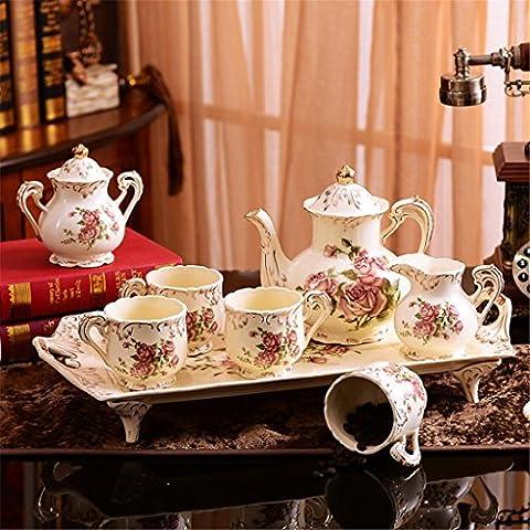 Table basse de style européen Tasses à café Ensemble de service à thé café Céramique Définit Ensemble de thé Ensemble à thé avec plateau
