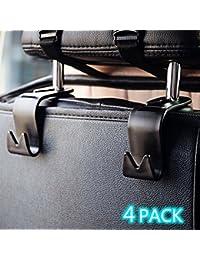 YOMOSI 4 PCS Car Seat Back Hook Auto Seat Headrest Portable Organizer Holder Hooks Grocery Shopping Bag Travel...