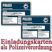 Einladungskarten Zum Geburtstag Als Polizeivorladung (18 Stück)  Geburtstagseinladung Polizei Vorladung Einladung