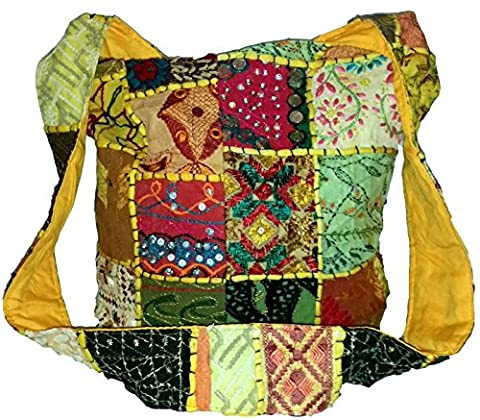 Patchwork Hippie Bag (U671) Yellow & Multi Colour Patch Sequin Beads Mirror Embroidered Large Cotton Boho Gypsy Hippy Sling Cross Body Festival Beach Travel Shoulder HandBag