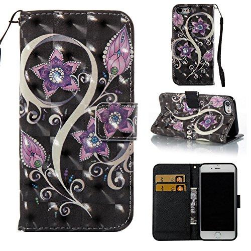 Ooboom® Coque pour iPhone 6S/6 Plus Housse 3D PU Cuir Flip Cover Étui Wallet Case avec Supporter Fermeture Aimantée Dragonne - Papillon Rouge Fleur Violet
