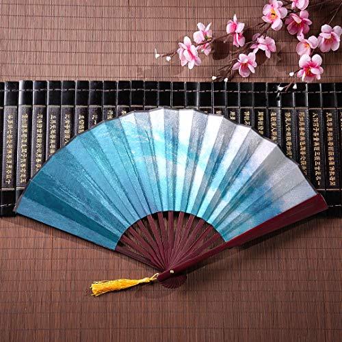 EIJODNL Große Bambus Hand Fan Big Breaking Ocean Wave an einem Strand mit Bambus Frame Quaste Anhänger und Stoffbeutel Fan japanische personalisierte Hand Fans Hand Fan Fan