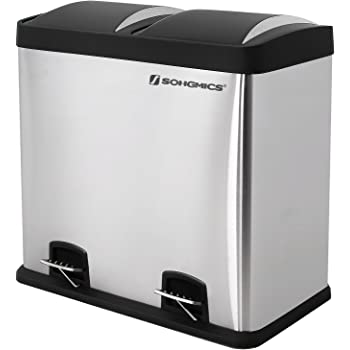 SONGMICS Recycle Bin Pedal Bin 48 Litre Large Waste Separation System for Kitchen Stainless Steel LTB48L