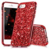 Slynmax Coque iPhone 8 Rouge,Coque iPhone 7/8, Silicone Paillette Strass Brillante...