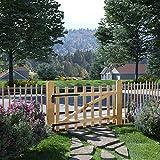 Tidyard Gartentor Zauntor Einflügelig Haselnussholz Gartentür Zauntür Pforte Holztor 100 x 60 cm für Garten Zugang oder Terrasse