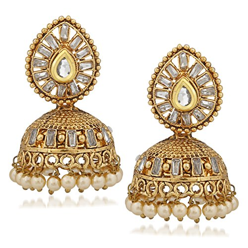 Meenaz Jhumka/Jhumki Ear rings for girls Stylish Party Wear Silver Studs Earrings For Womens and Girls In American Diamond Cz Jewellery - A-153  available at amazon for Rs.314