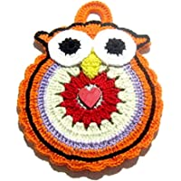 Presina gufo arancione all'uncinetto in cotone - Dimensioni: 13 cm x 18 cm H - Handmade - ITALY