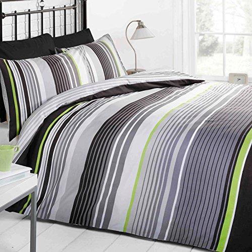 Just Contempo - Copripiumino a righe in cotone, Cotone, grigio (nero bianco lime verde), copripiumino king size (Kingsize)