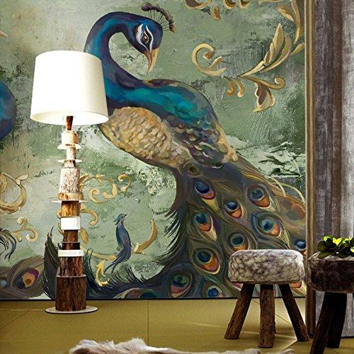Wongxl Der Südostasiatische Tapete Schlafzimmer Zimmer Restaurant Hintergrund Wand Papier Overalls Große Wandbilder Pfau 3D Tapete Hintergrundbild Fresko Wandmalerei Wallpaper Mural 300cmX250cm