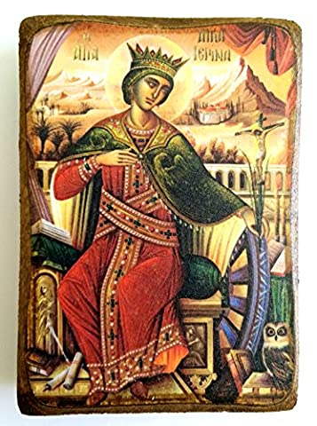 Wooden Greek Christian Orthodox Wood Icon of Saint Catherine /