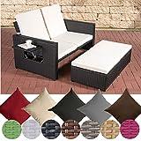 CLP Polyrattan 2er- Loungesofa ANCONA | Garten-Sofa mit ausziehbarem Fußteil und verstellbarer Rückenlehne | In verschiedenen Farben erhältlich Rattan Farbe schwarz, Stärke 1,25 mm, Bezugfarbe: Cremeweiß