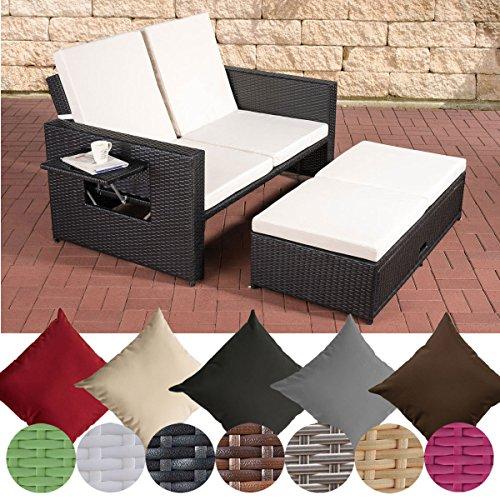CLP Polyrattan 2er-Loungesofa ANCONA I Garten-Sofa mit ausziehbarem Fußteil und verstellbarer Rückenlehne Rattan Farbe schwarz, Stärke 1,25 mm, Bezugfarbe: Cremeweiß