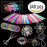 GLOW MEGA PACK - 180 Pezzi Braccialetti Luminosi Fluorescenti e Accessori per Festa | Neon Led Tubi Bastoncini Fluo Fosforescenti al Buio Bambini
