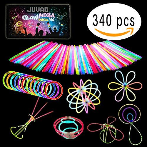 JUVAD Glow Mega Pack - 180 Pulseras Luminosas Fluorescentes y Accesorios | Varitas Luminosas para Fiesta y Niños / Rojo, Amarillo, Azul, Violeta, Verde y Naranja