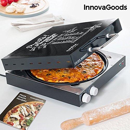 InnovaGoods Pizzera Eléctrica con Recetario Presto, 1200 W, Negro