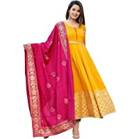 Women's Rayon Anarkali Kurti With Banarasi Dupatta Set (Yellow)
